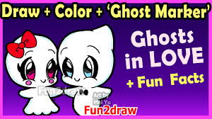 how to draw and color cute ghost couple in love easy cartoon