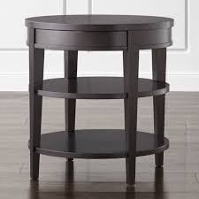 round coffee table and end tables colette round side table with drawer reviews crate and barrel