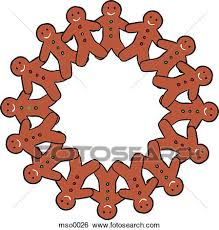 stock illustration of a wreath of gingerbread men cookies mso0026