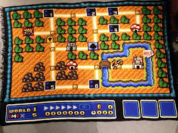 mario bros 3 maps this spent 6 years crocheting a blanket of the mario