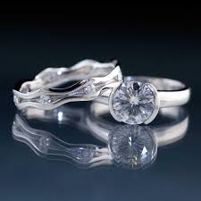 bridal set rings moissanite half bezel engagement ring wave wedding band bridal set