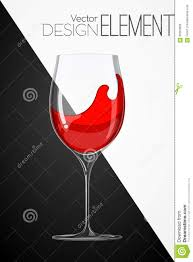 cartoon white wine glass with red wine on abstract black and white background strict