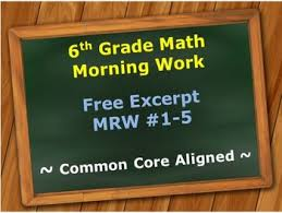 6th grade common core math morning work math review worksheets 1 5