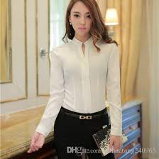 2017 chiffon blouse white shirt women long sleeve slim plus size