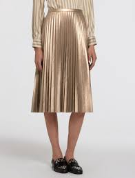 pleated skirt pleated skirt with coated fabric gold gabriele pennyblack