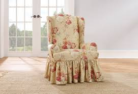 sure fit slipcovers wing chair sure fit ballad bouquet wing chair slipcovers