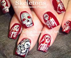 robin moses nail art cute halloween skeleton nails