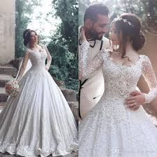 luxury lace ball gown wedding dresses with long sleeve 2017