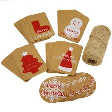 christmas kraft paper gift tags with jute twine for gift wrapping