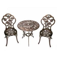 wrought iron bistro table and chair set rose 3 piece cast metal bistro set with cast aluminum top table and