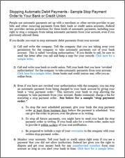 authorization letter to travel using credit card revoking automatic debits from your account