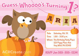halloween bday party invites october halloween owl birthday invitation for a one year old
