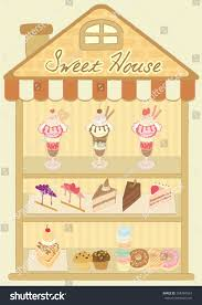 sweet house vector drawing dessert products sweet housedessert stock vector