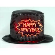 led new years new year s top hat black 1