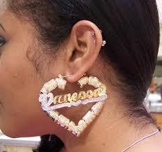 personalized name earrings 14k gp heart bamboo 2 1 2 any name earring personalized h1 nikfine