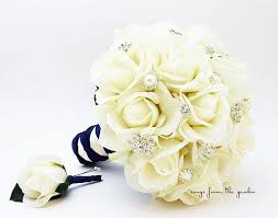 silk bridal bouquets silk bridal bouquet real touch roses rhinestones groom s