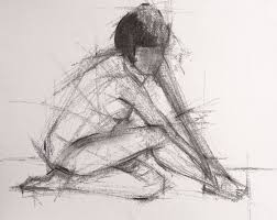 saatchi art figure sitting knot arms down charcoal sketch