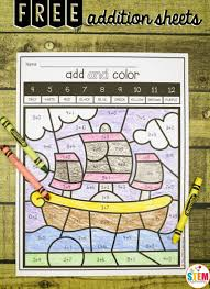 First Grade Math Coloring Worksheets Free Addition Color By Code Sheets Great Way To Work On Math This