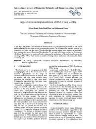 cryptosystem an implementation of rsa using verilog public key