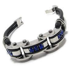 mens bracelet titanium images Men 39 s blue black silver pure titanium rubber bracelet 15342 jpg