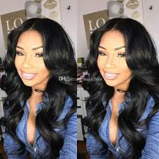 long black hair with part in the middle 1 jet black middle part full lace human hair wigs for black women
