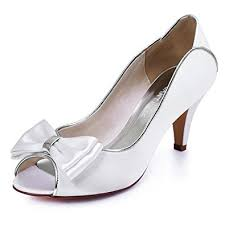 wedding shoes mid heel elegantpark hp1606 white peep toe pumps mid heel