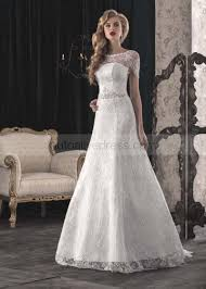 ivory lace wedding dress a line scoop neckline sleeves corset back ivory lace wedding