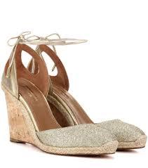 aquazzura palm beach glitter wedge sandals in metallic lyst