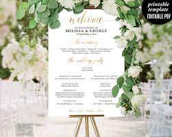 wedding poster template gold wedding program template printable wedding poster ceremony