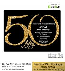 black gold glitter 50th birthday invitation modern number