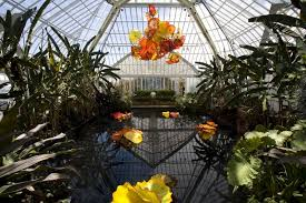 Botanical Gardens Pittsburgh Chihuly Chandelier And Pond Phipps Conservatory