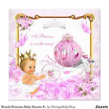 blonde princess baby shower pink gold carriage card baby shower