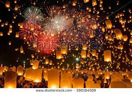lanterns fireworks sky lanterns fireworks stock illustration 455162476