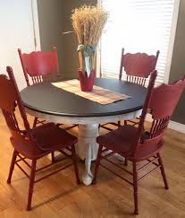 dining set in java gel stain and brick red milk paint general