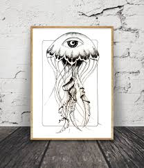 Jellyfish Home Decor by Jellyfish Drawing Original Digital Download