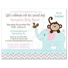 monkey and elephant pink gray teal baby shower invitations