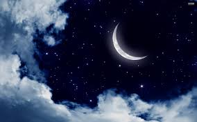starry night sky with moon wallpaper