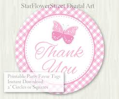 butterfly baby shower favor tags baby pink thank you