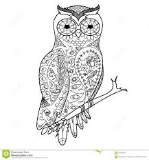 owl coloring book for adults vector stock vector image 67952592