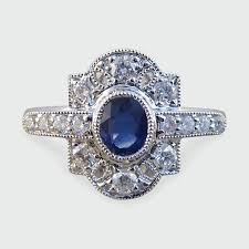 contemporary art deco style sapphire and diamond ring in 18ct