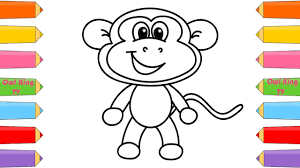 how to draw monkey coloring pages animals for kids art colors