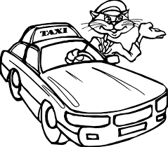 taxi cat driver car coloring page wecoloringpage