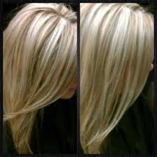 shades of high lights and low lights on layered shaggy medium length blonde hair with dark brown lowlights impressive hair and beauty