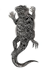 tribal bearded dragon tattoo design by chezarawolf deviantart com