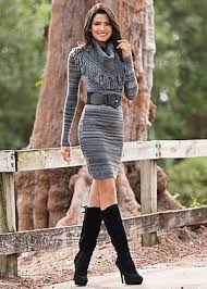 sweater dress and fringe trim sweater dress tie back boots my style