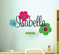 Childrens Bedroom Wall Letters Girls Custom Name Wall Decals Retro Flowers Decal Teen