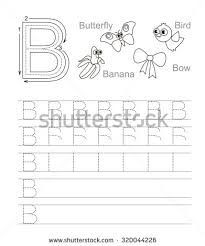 writing practice letter b printable worksheet stock vector