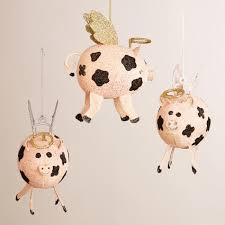 metal flying pig ornaments set of 3 world market
