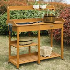 Modern Outdoor Wood Bench by Modern Garden Potting Bench Table With Sink Storage Shelves
