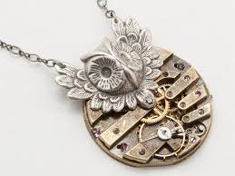 owl jewelry necklace images Steampunk silver victorian owl necklace including a gold key wind jpg